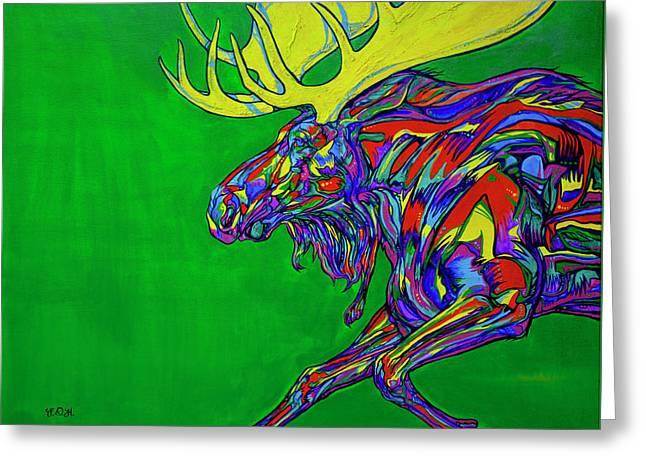 Rack Paintings Greeting Cards - Green Mega moose Greeting Card by Derrick Higgins