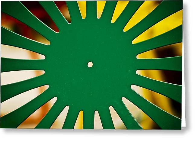 Green And Yellow Greeting Cards - Green Memorial Union Chair Greeting Card by Christi Kraft