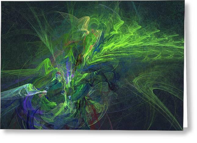 Morphing Greeting Cards - Green metamorphosis Greeting Card by Martin Capek