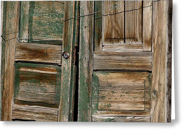 Entryway Greeting Cards - Green Mexican Doors Greeting Card by Art Block Collections