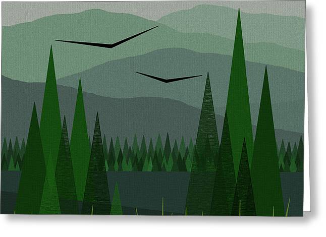 Minimalist Landscape Greeting Cards - Green Mist Greeting Card by Val Arie