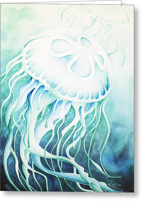 Jelly Fish Greeting Cards - Green Moon Jelly Greeting Card by William Love