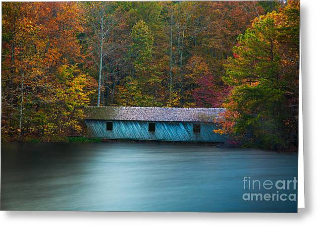 Huntsville Greeting Cards - Green Mountain Covered Bridge Huntsville Alabama Greeting Card by T Lowry Wilson