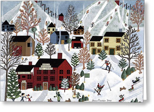 Skiing Art Prints Greeting Cards - Green Mountain Fun Greeting Card by Medana Gabbard