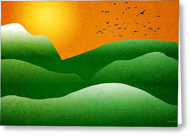 Bird Summit Greeting Cards - Green Mountain Sunrise Landscape Art Greeting Card by Christina Rollo