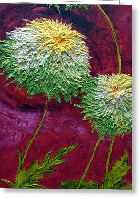 Paris Wyatt Llanso Greeting Cards - Green Mums Greeting Card by Paris Wyatt Llanso