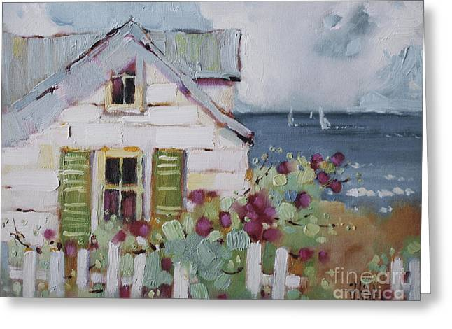 Original Oil Paintings Greeting Cards - Green Nantucket Shutters Greeting Card by Joyce Hicks