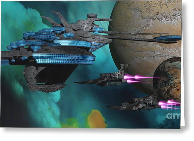 Warp Greeting Cards - Green Nebular Expanse Greeting Card by Corey Ford