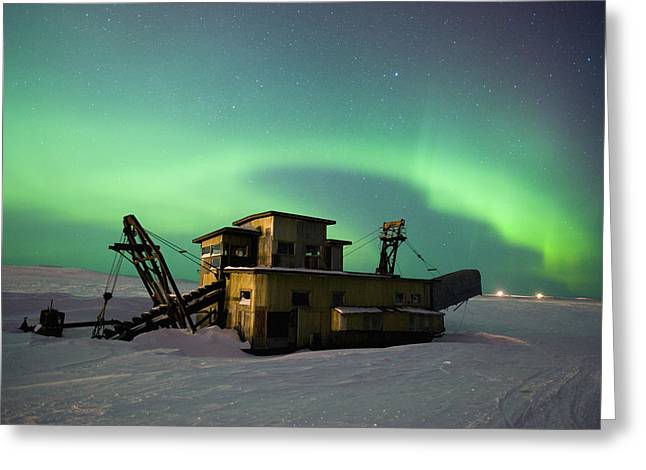 Dredge Greeting Cards - Green Northern Lights Dance Greeting Card by Daryl Pederson
