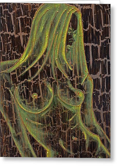 Naked Women Framed Prints Greeting Cards - Green Nude Girl 003 Greeting Card by Jakub DK