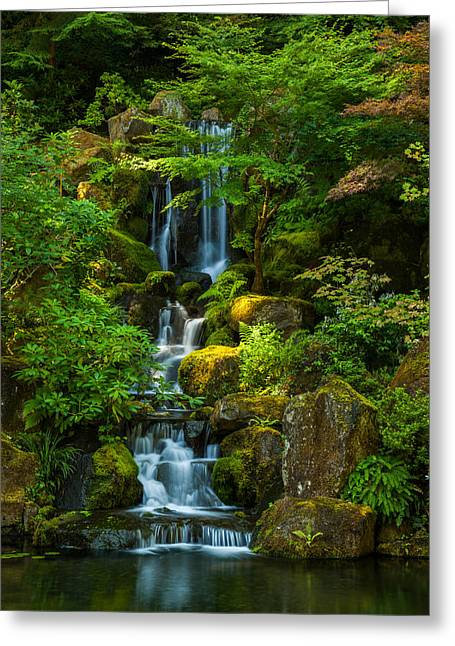 Japanese Photographs Greeting Cards - Green Oasis Greeting Card by Thorsten Scheuermann
