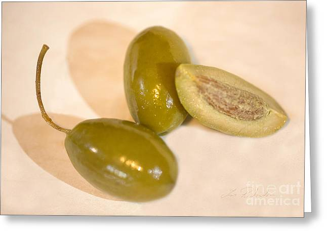 Aphrodisiac Greeting Cards - Green Olives Still Olea europaea Greeting Card by Iris Richardson