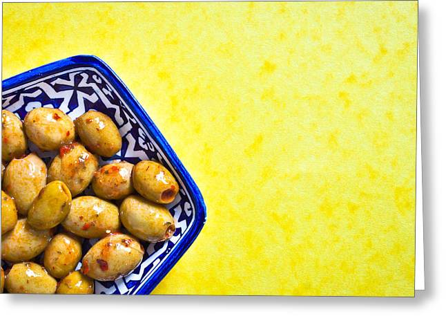 Border Photographs Greeting Cards - Green olives Greeting Card by Tom Gowanlock