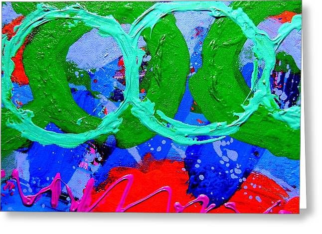 Vibrant Green Greeting Cards - Green on Red Greeting Card by John  Nolan