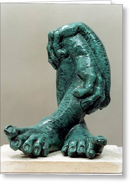 Ceramic Sculptures Greeting Cards - Green Organs Greeting Card by Shimon Drory