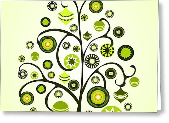 Green Ornaments Greeting Card by Anastasiya Malakhova