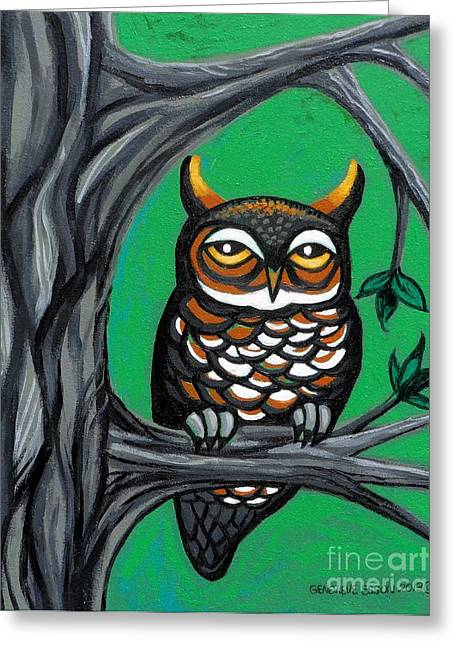 Owlets Greeting Cards - Green Owl Greeting Card by Genevieve Esson