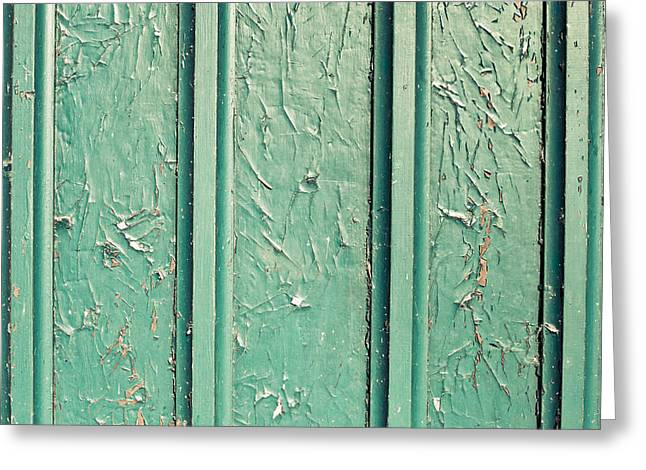 Abandoned Houses Greeting Cards - Green painted wood Greeting Card by Tom Gowanlock