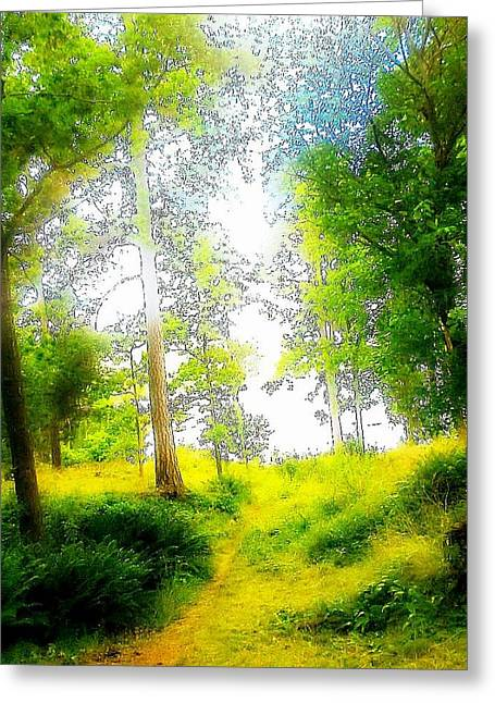 Mental Process Paintings Greeting Cards - Green paradise Greeting Card by Hilde Widerberg