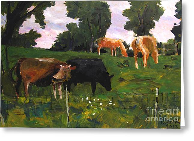 Rural Setting Greeting Cards - Green Pastures Roann Greeting Card by Charlie Spear