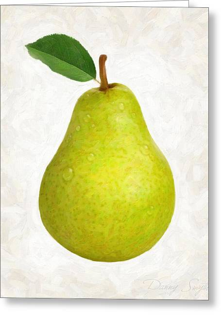 Green Pear Isolated Greeting Card by Danny Smythe