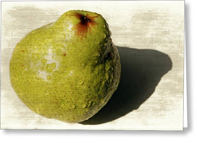 Agronomy Greeting Cards - Green pear Greeting Card by Lali Kacharava