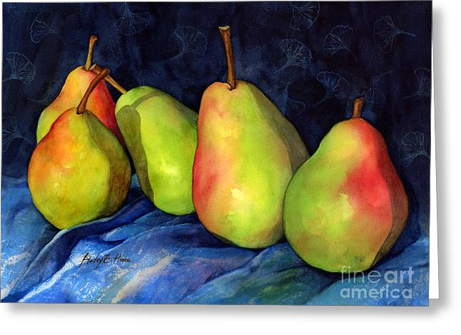 Green Pear Greeting Cards - Green Pears Greeting Card by Hailey E Herrera