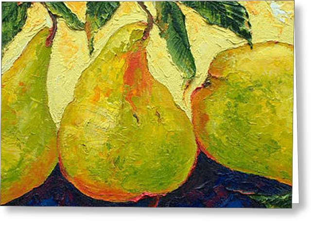 Paris Wyatt Llanso Greeting Cards - Green Pears in a Row Greeting Card by Paris Wyatt Llanso