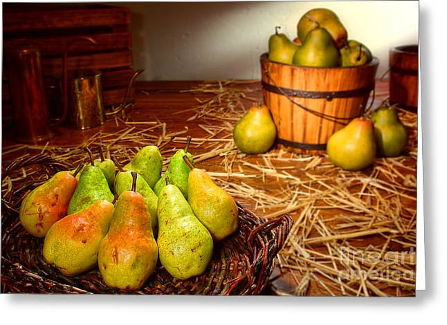 Bosc Greeting Cards - Green Pears in Rustic Basket Greeting Card by Olivier Le Queinec