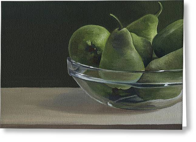 Still Life With Pears Greeting Cards - Green Pears Greeting Card by Natasha Denger