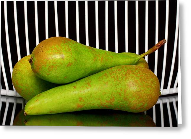 One Pear Greeting Cards - Green pears  Greeting Card by Toppart Sweden