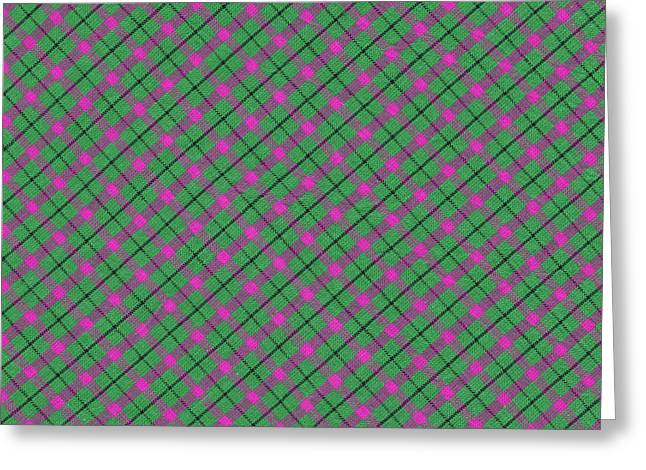 Gingham Greeting Cards - Green Pink and Black Diagonal Plaid Design Fabric Background Greeting Card by Keith Webber Jr