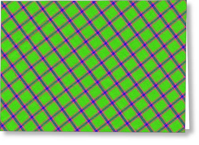 Checked Tablecloths Photographs Greeting Cards - Green Pink Blue Plaid Fabric Background Greeting Card by Keith Webber Jr