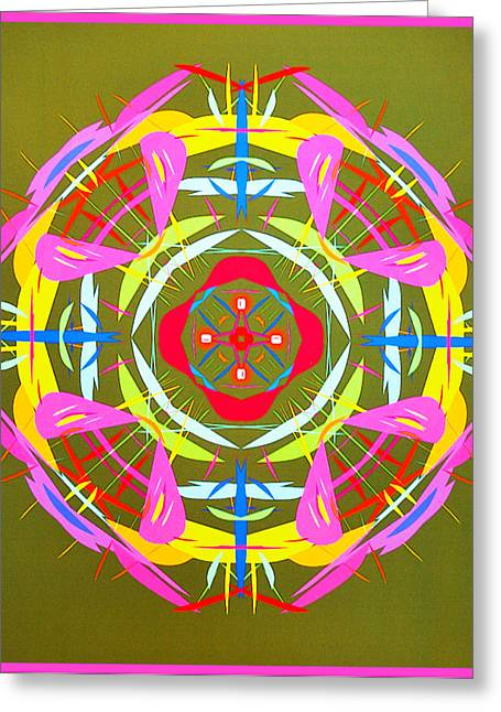 Arrow Abstract Greeting Cards - Green Pink Yellow Abstract Greeting Card by Barbara Snyder