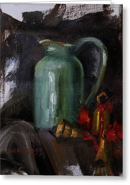 Pottery Pitcher Paintings Greeting Cards - Green pitcher and bells Greeting Card by Vicki Ross
