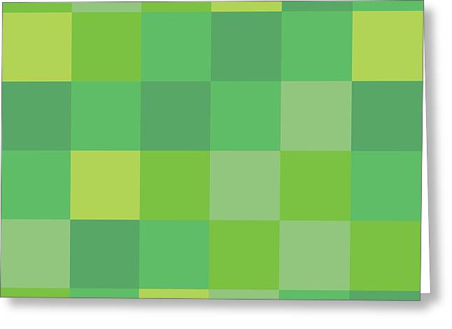 Geometric Style Greeting Cards - Green Pixel Art Greeting Card by Mike Taylor