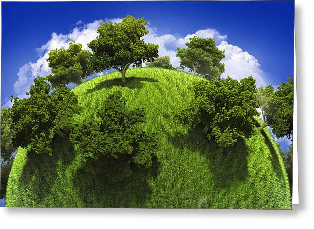 Planet Earth Greeting Cards - Green planet Earth Greeting Card by Vitaliy Gladkiy