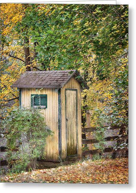 Pottier Greeting Cards - Green Point Outhouse Greeting Card by Lori Deiter