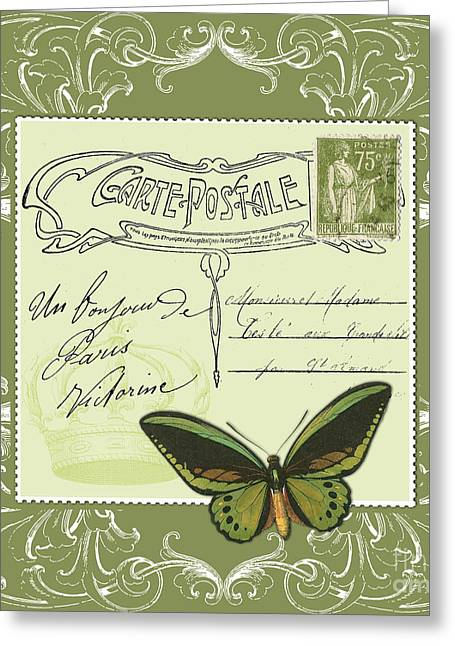 Victorian Greeting Cards - Green postcard Greeting Card by Marion De Lauzun