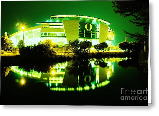 Michael Cross Greeting Cards - Green Power- Autzen at night Greeting Card by Michael Cross