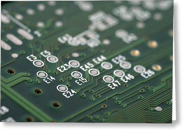 Green printed circuit board closeup Greeting Card by Matthias Hauser
