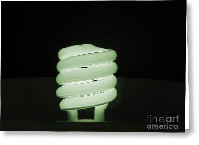 Florescent Lights Greeting Cards - Green Radiance Greeting Card by Robin Davis