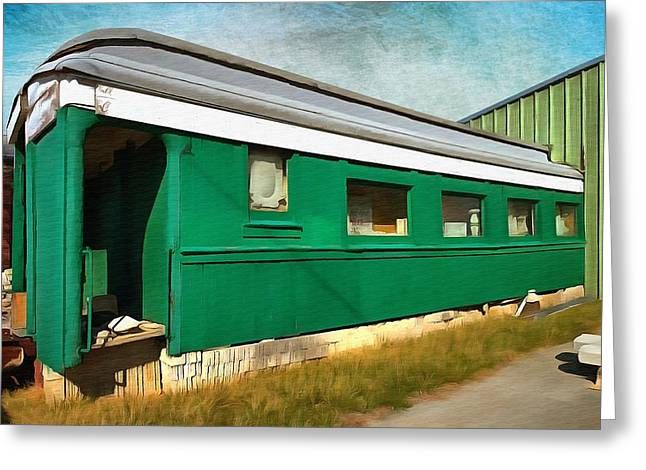 Caboose Paintings Greeting Cards - Green Rail Car  Greeting Card by L Wright
