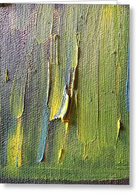 Abstract Rain Greeting Cards - Green Rain Greeting Card by Joanna Sabal