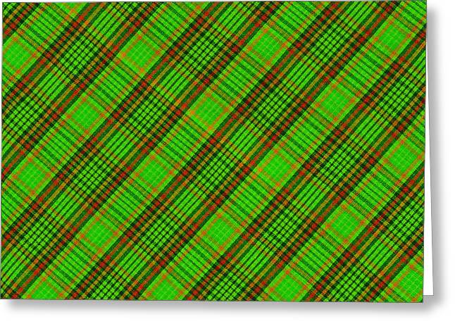 Gingham Greeting Cards - Green Red And Black Diagonal Plaid Cloth Background Greeting Card by Keith Webber Jr