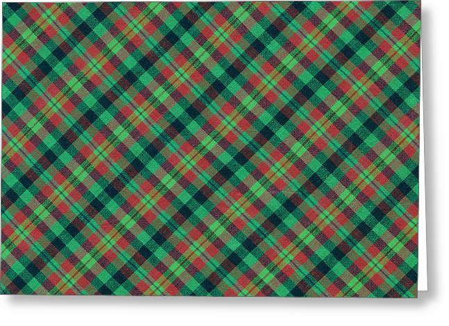 Checked Tablecloths Photographs Greeting Cards - Green Red and Black Diagonal Plaid Textile Background Greeting Card by Keith Webber Jr
