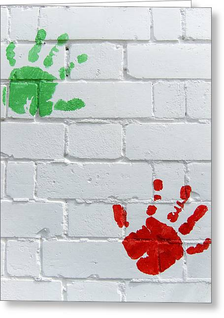 Childhood Art Greeting Cards - Green red prints Greeting Card by Les Cunliffe