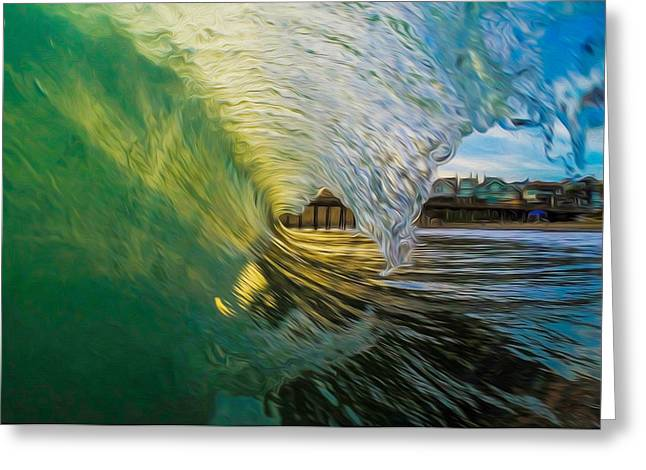 Santa Cruz Wharf Greeting Cards - Green Reflection Greeting Card by David Alexander