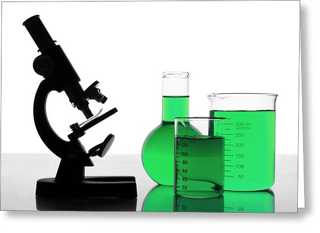 Flask Greeting Cards - Green Research Greeting Card by Jim Hughes
