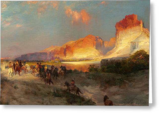 Sunlit Greeting Cards - Green River Cliffs Wyoming Greeting Card by Thomas Moran